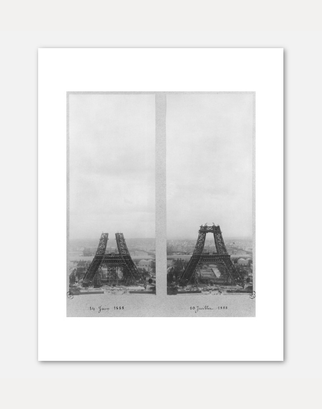 [UNKNOWN] TWO VIEWS OF THE CONSTRUCTION OF THE EIFFEL TOWER 71 x 56 cm