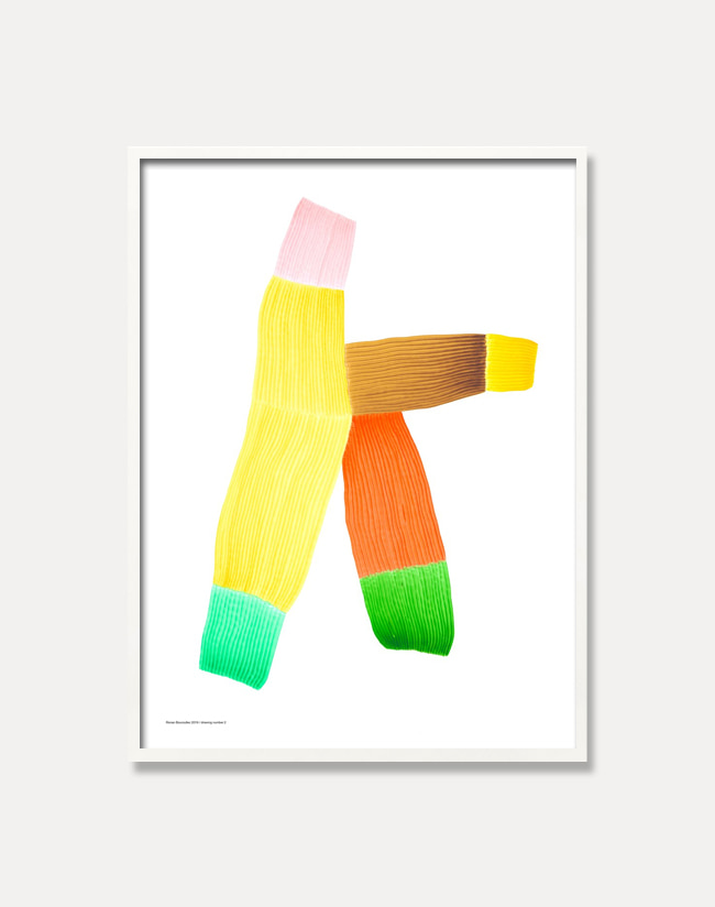 [로낭 부홀렉]Ronan Bouroullec — DRAWING 2,Yellow multi (액자포함) 50 x 67.5 cm