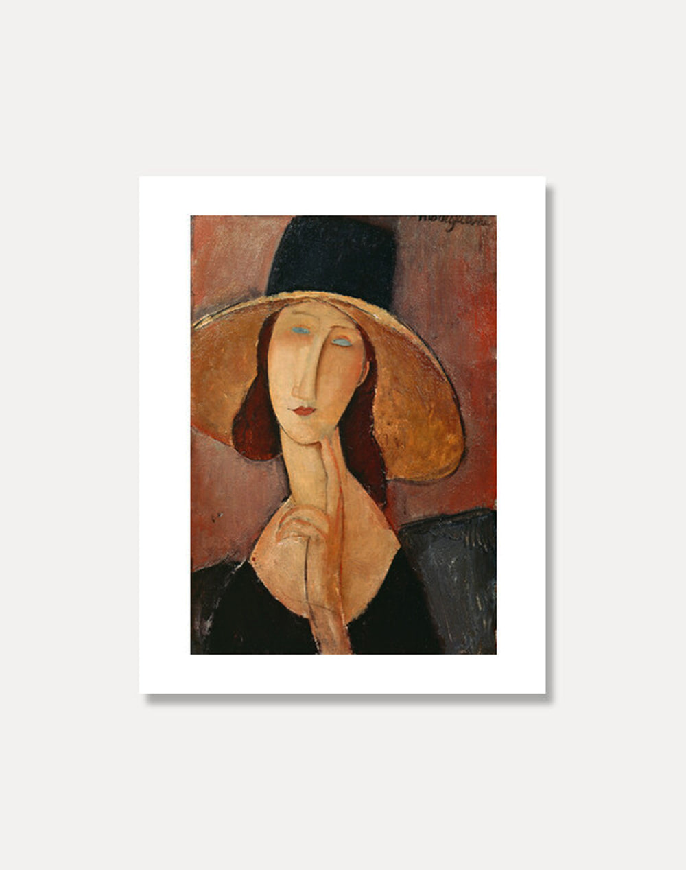 [아메데오 모딜라니]AMEDEO MODIGLIANI ― Portrait of Jeanne Hebuterne in a large hat 20 x 25 cm